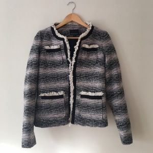 Cynthia Rowley Ombre Tweed Fringe Jacket Size S